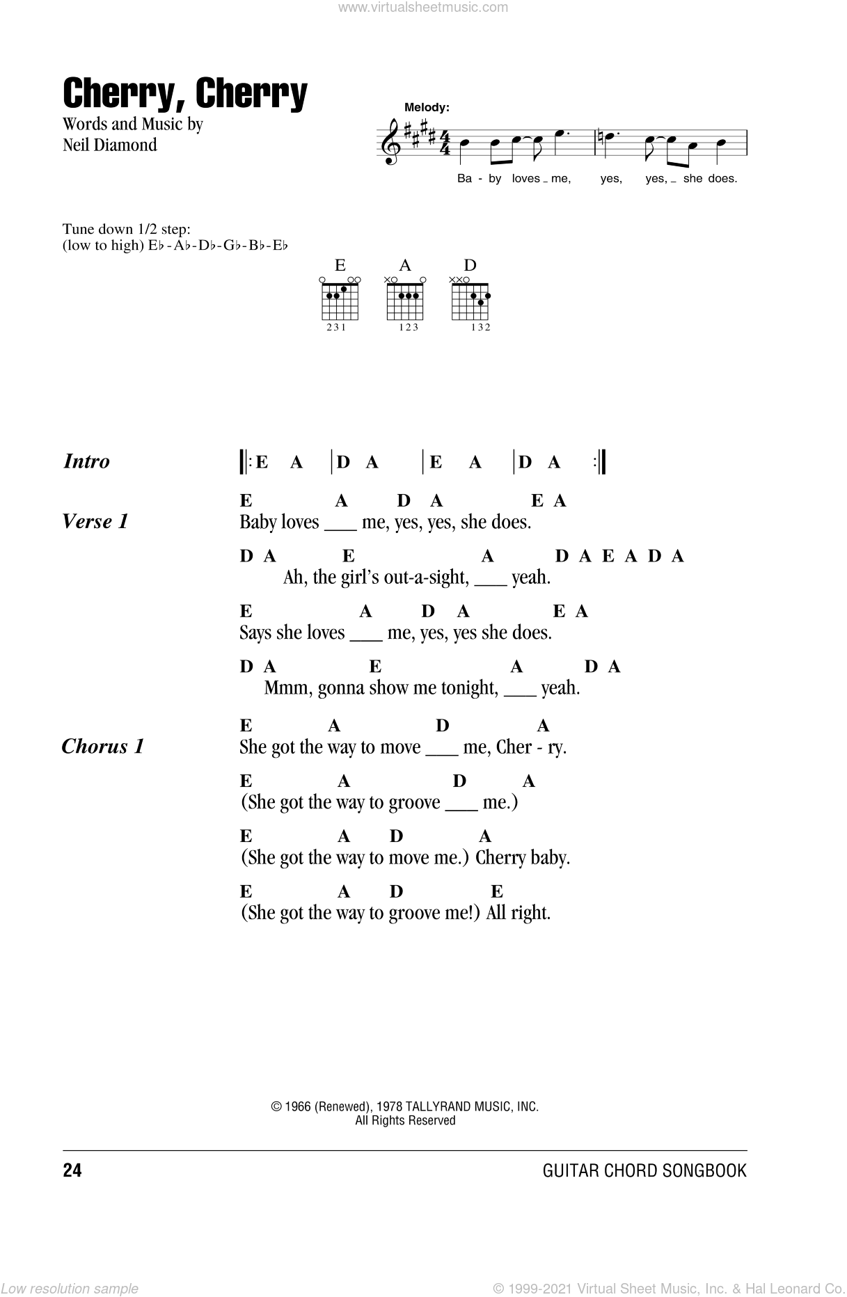 Cherry, Cherry sheet music for guitar (chords) by Neil Diamond. Score Image Preview.