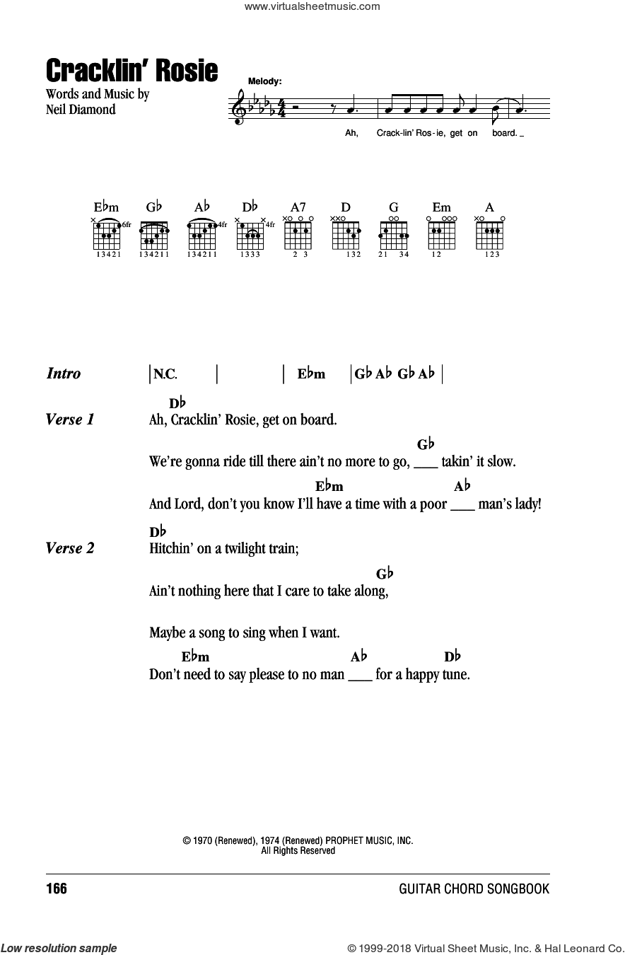 Cracklin' Rosie sheet music for guitar (chords) by Neil Diamond, intermediate. Score Image Preview.