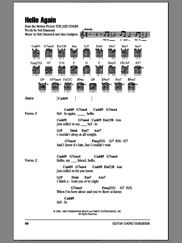 Hello Again sheet music for guitar (chords) by Neil Diamond and Alan Lindgren, intermediate skill level