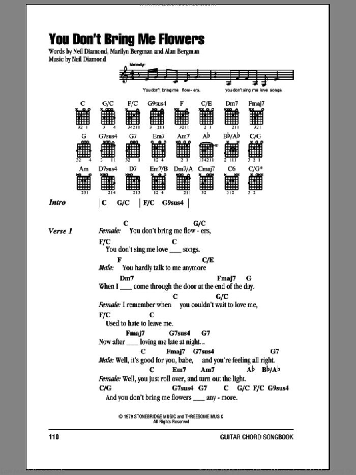 You Don't Bring Me Flowers sheet music for guitar (chords) by Neil Diamond & Barbra Streisand, Barbra Streisand, Alan Bergman, Marilyn Bergman and Neil Diamond