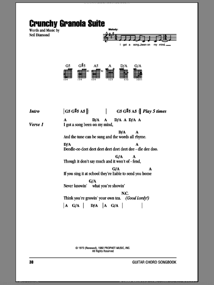 Crunchy Granola Suite sheet music for guitar (chords) by Neil Diamond. Score Image Preview.