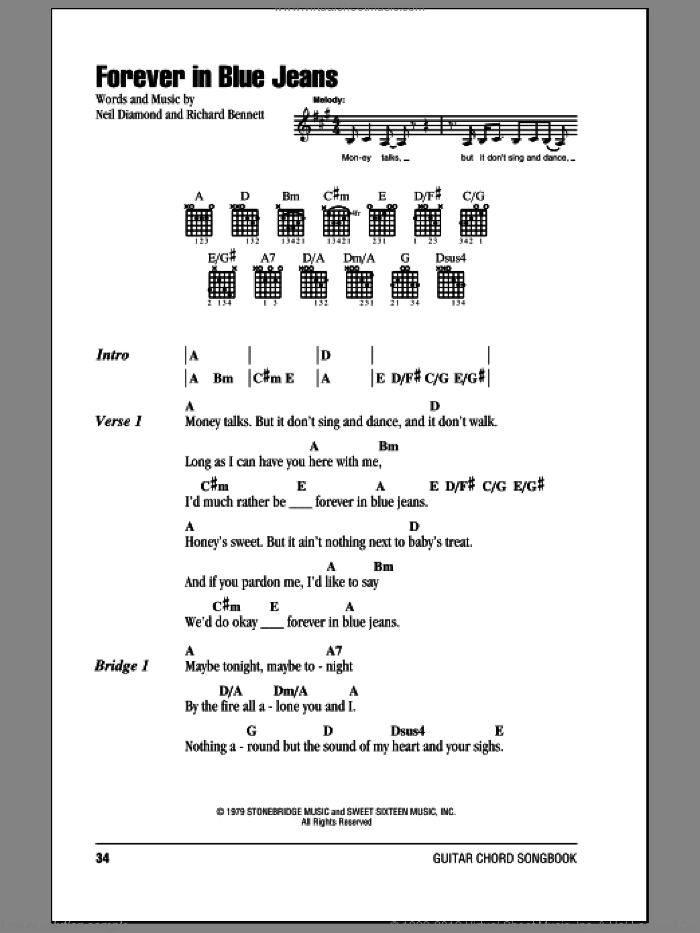 Forever In Blue Jeans sheet music for guitar (chords) by Richard Bennett and Neil Diamond. Score Image Preview.