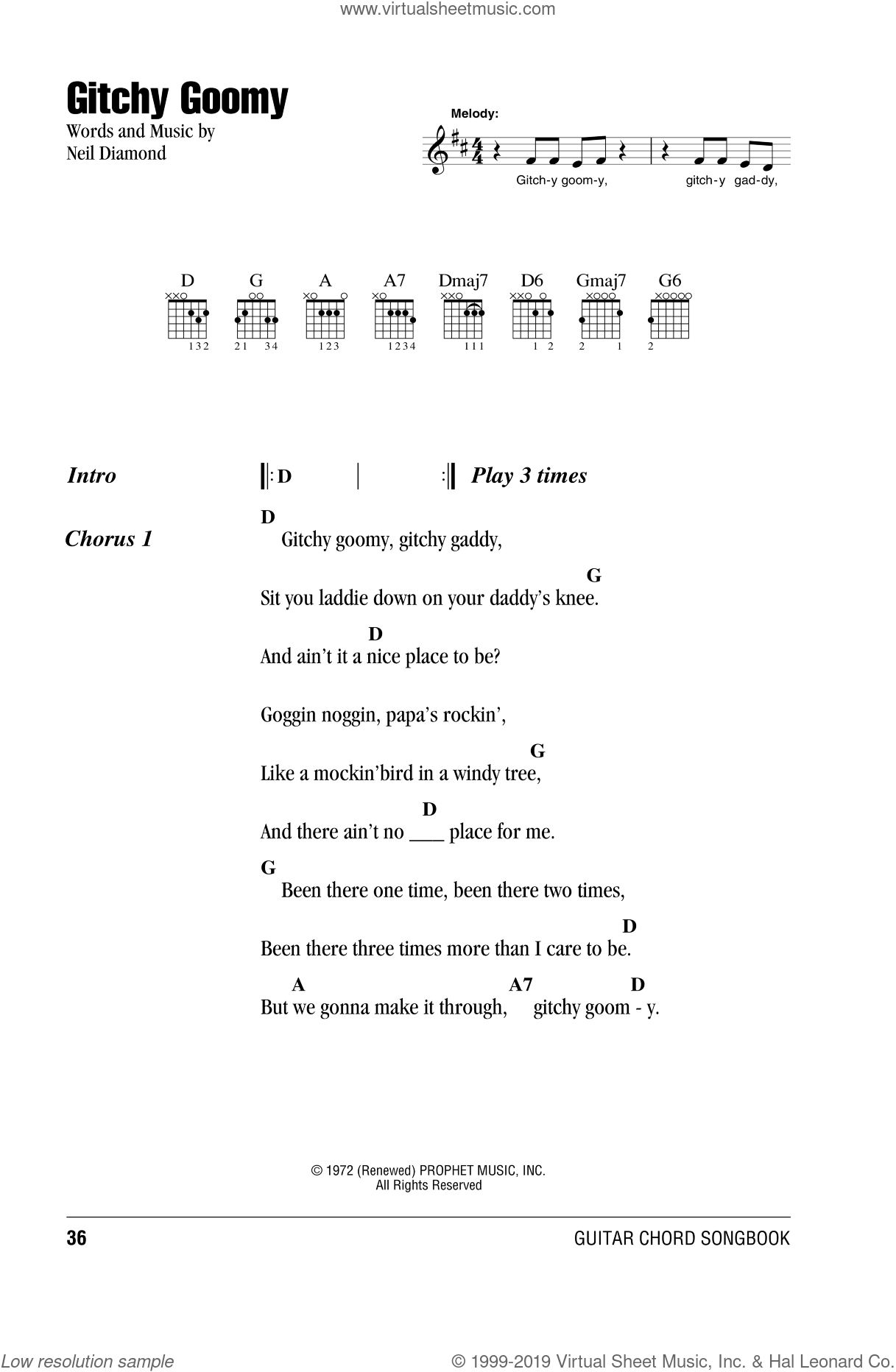 Gitchy Goomy sheet music for guitar (chords) by Neil Diamond, intermediate. Score Image Preview.