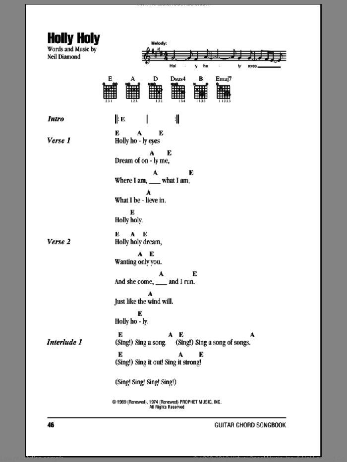 Holly Holy sheet music for guitar (chords) by Neil Diamond. Score Image Preview.