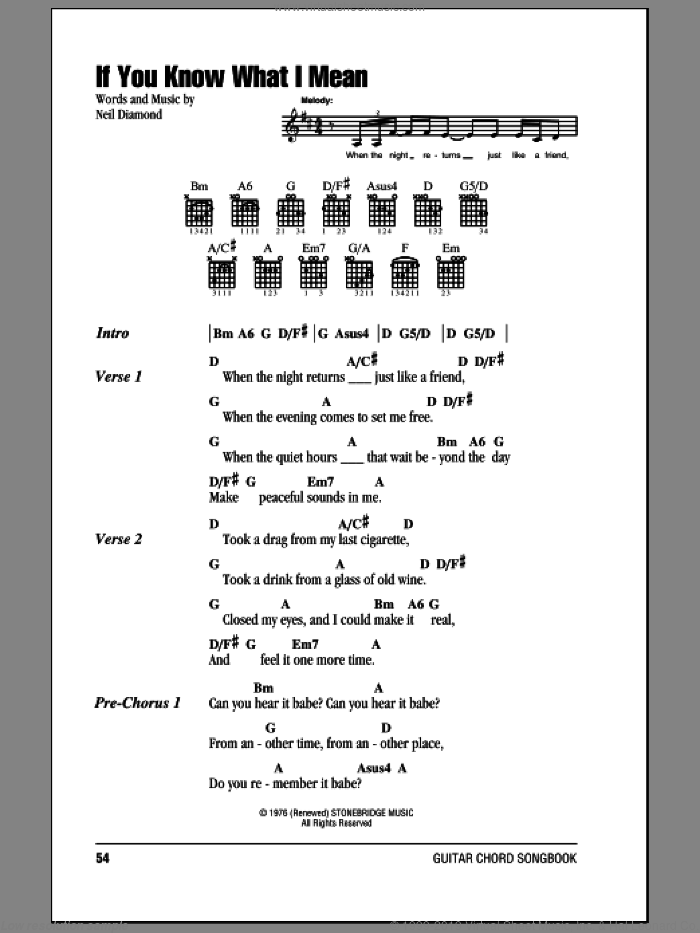 If You Know What I Mean sheet music for guitar (chords) by Neil Diamond. Score Image Preview.