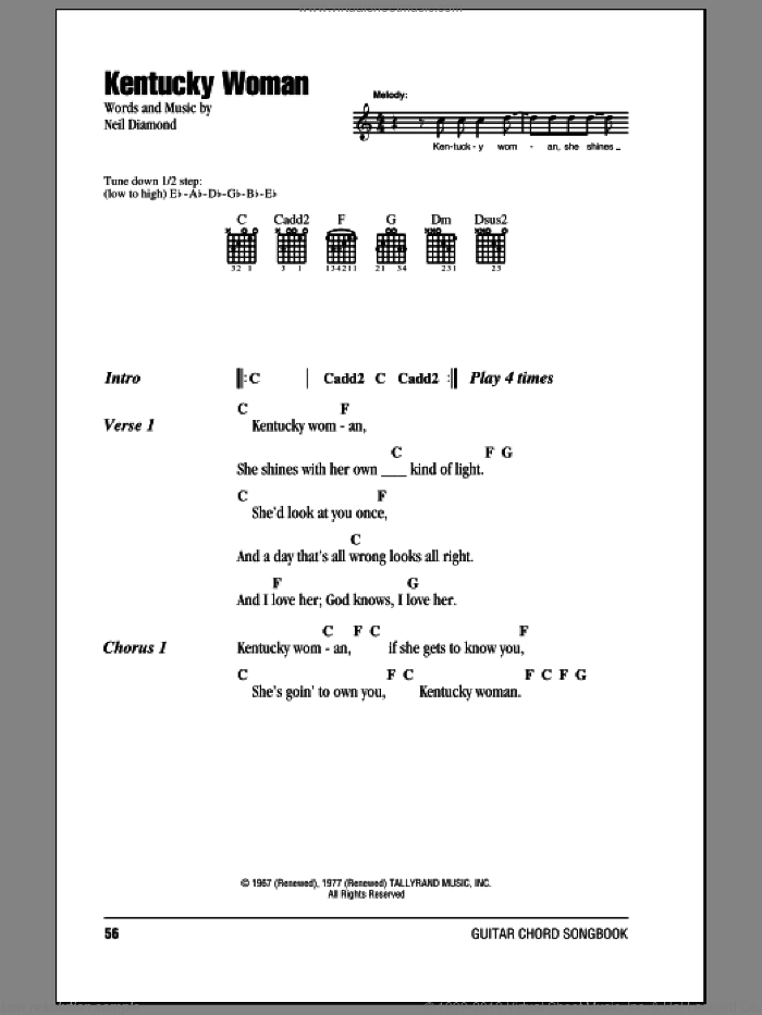 Kentucky Woman sheet music for guitar (chords) by Neil Diamond, intermediate guitar (chords). Score Image Preview.