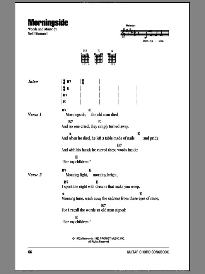Morningside sheet music for guitar (chords) by Neil Diamond, intermediate skill level