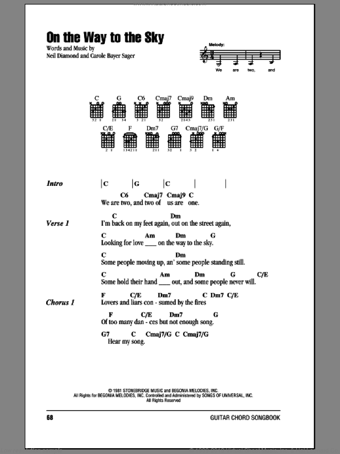 On The Way To The Sky sheet music for guitar (chords) by Carole Bayer Sager