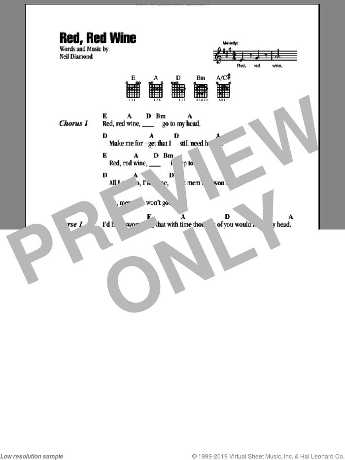 Red, Red Wine sheet music for guitar (chords) by Neil Diamond. Score Image Preview.