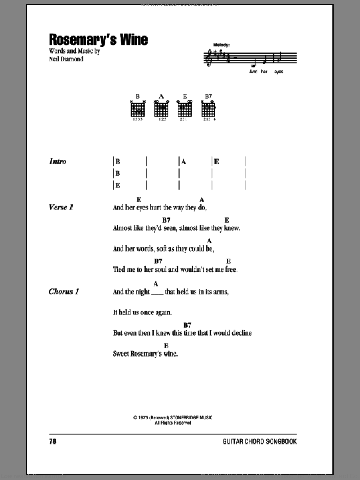 Rosemary's Wine sheet music for guitar (chords) by Neil Diamond, intermediate skill level