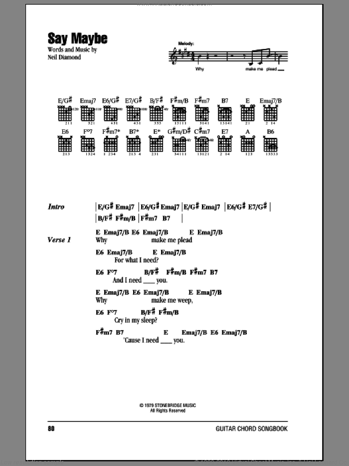 Say Maybe sheet music for guitar (chords) by Neil Diamond, intermediate. Score Image Preview.