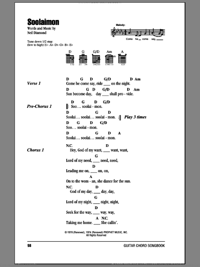 Soolaimon sheet music for guitar (chords) by Neil Diamond