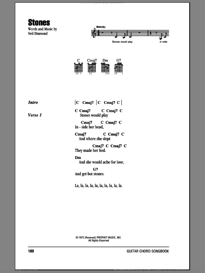 Stones sheet music for guitar (chords) by Neil Diamond, intermediate skill level
