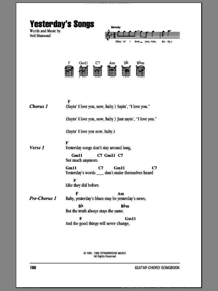 Yesterday's Songs sheet music for guitar (chords) by Neil Diamond, intermediate