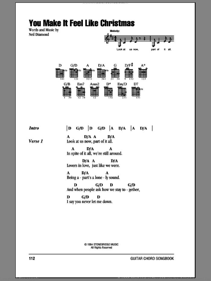 You Make It Feel Like Christmas sheet music for guitar (chords) by Neil Diamond. Score Image Preview.