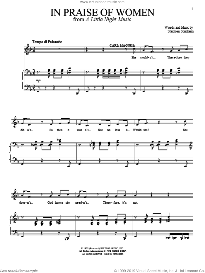 In Praise Of Women sheet music for voice and piano by Stephen Sondheim and A Little Night Music (Musical), intermediate skill level
