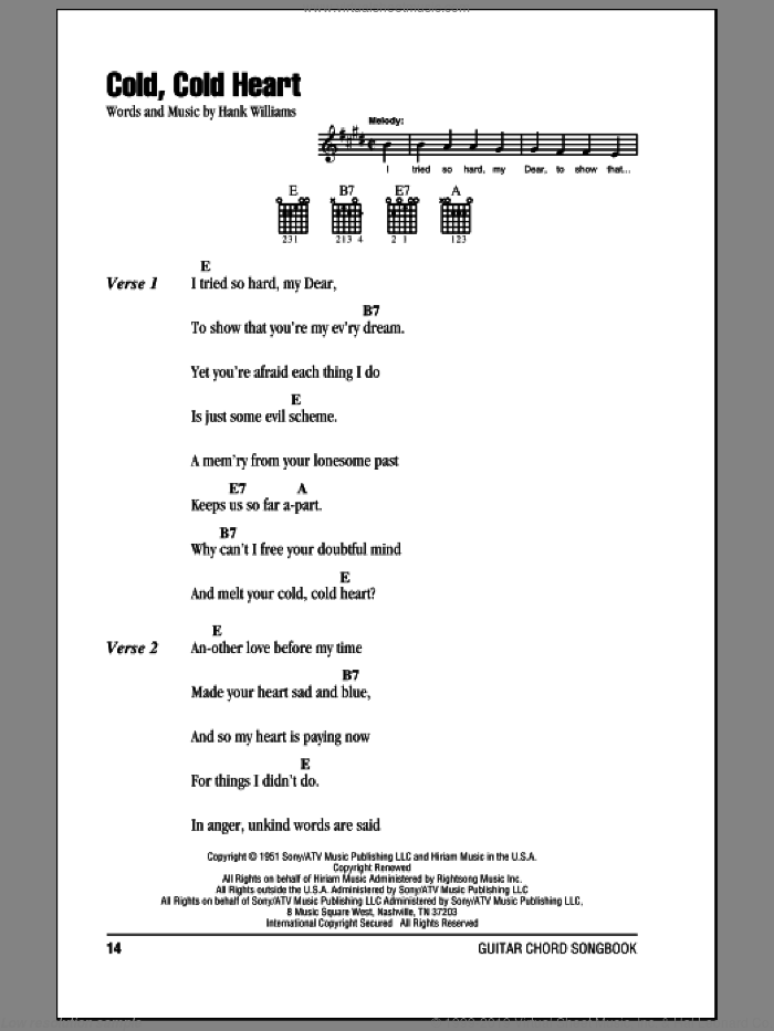 Cold, Cold Heart sheet music for guitar (chords) by Hank Williams, intermediate