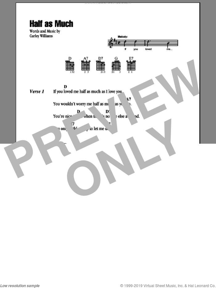 Half As Much sheet music for guitar (chords) by Hank Williams, Patsy Cline and Curley Williams, intermediate. Score Image Preview.