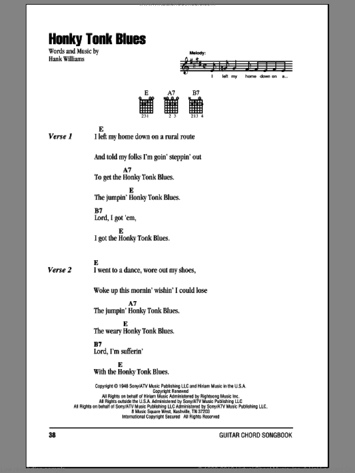 Williams Honky Tonk Blues Sheet Music For Guitar Chords