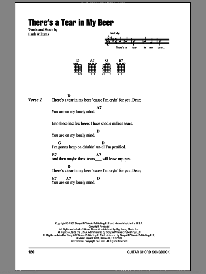 There's A Tear In My Beer sheet music for guitar (chords) by Hank Williams, Hank Williams Jr. and Hank Williams and Miscellaneous, intermediate