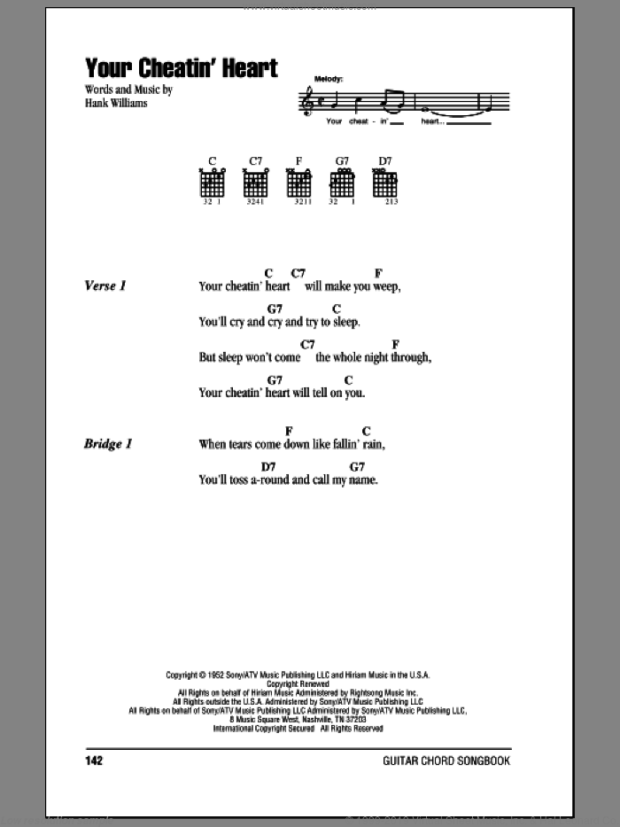 Your Cheatin' Heart sheet music for guitar (chords) by Hank Williams and Patsy Cline. Score Image Preview.
