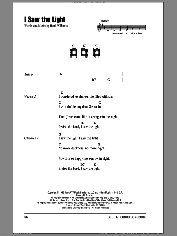 Williams - I Saw The Light sheet music for guitar (chords) [PDF]