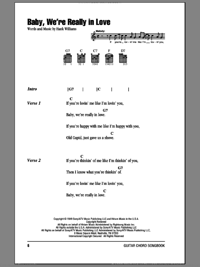 Baby, We're Really In Love sheet music for guitar (chords) by Hank Williams. Score Image Preview.