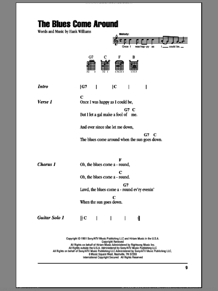The Blues Come Around sheet music for guitar (chords) by Hank Williams. Score Image Preview.