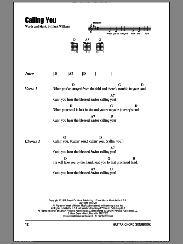 Calling You sheet music for guitar (chords) by Hank Williams. Score Image Preview.
