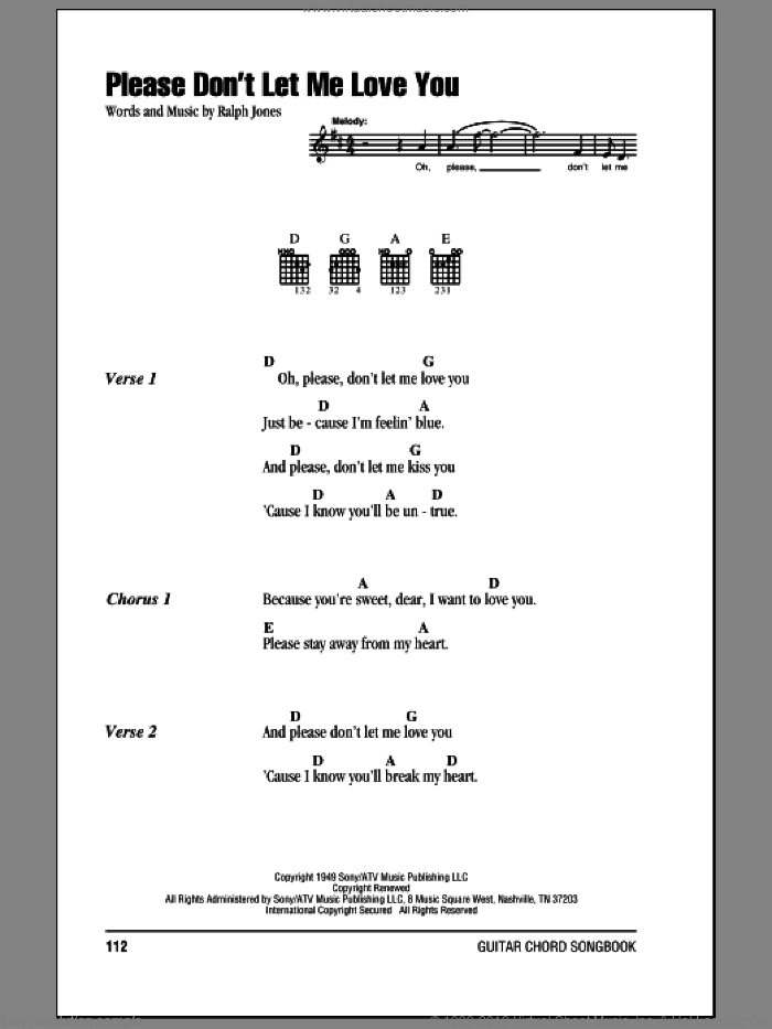 Please Don't Let Me Love You sheet music for guitar (chords) by Hank Williams and Ralph Jones, intermediate