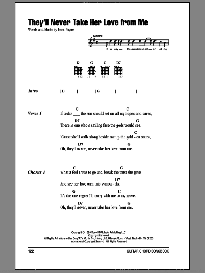 They'll Never Take Her Love From Me sheet music for guitar (chords) by Hank Williams and Leon Payne, intermediate skill level