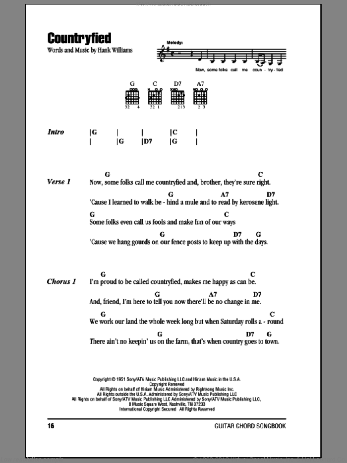 Countryfied sheet music for guitar (chords) by Hank Williams, intermediate guitar (chords). Score Image Preview.