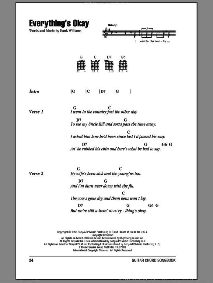 Everything's Okay sheet music for guitar (chords) by Hank Williams. Score Image Preview.