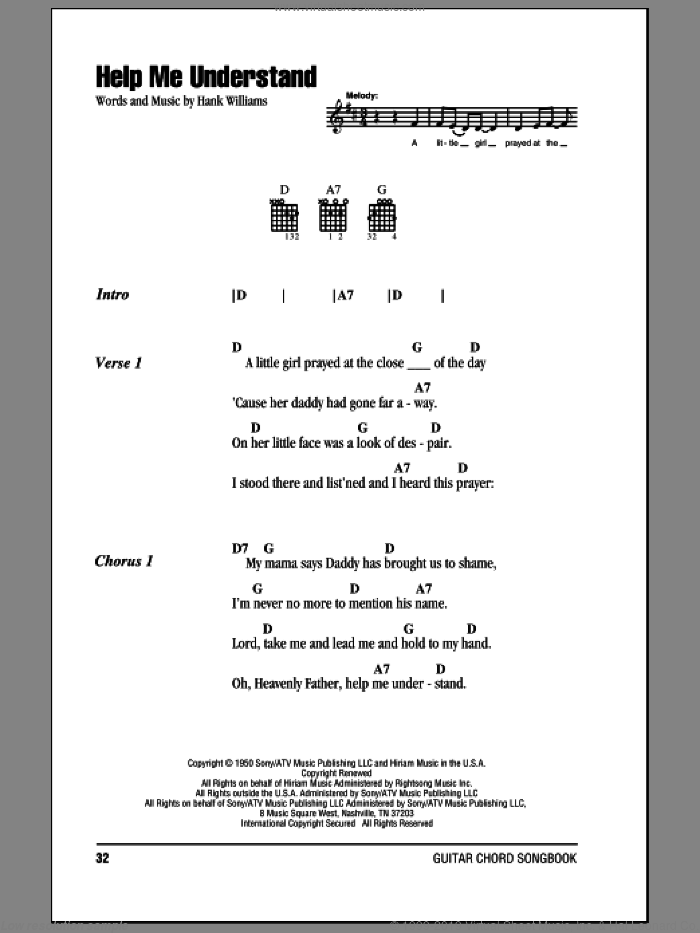 Help Me Understand sheet music for guitar (chords) by Hank Williams. Score Image Preview.