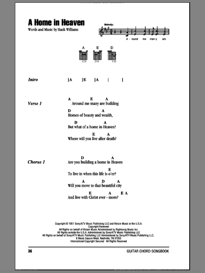 A Home In Heaven sheet music for guitar (chords) by Hank Williams, intermediate. Score Image Preview.