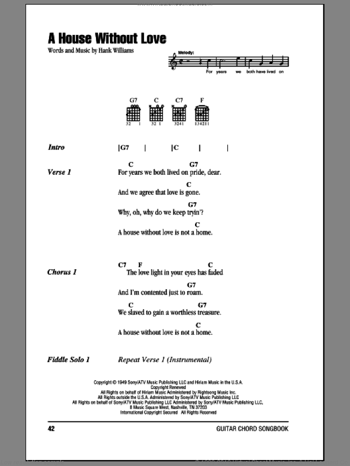 A House Without Love sheet music for guitar (chords) by Hank Williams, intermediate