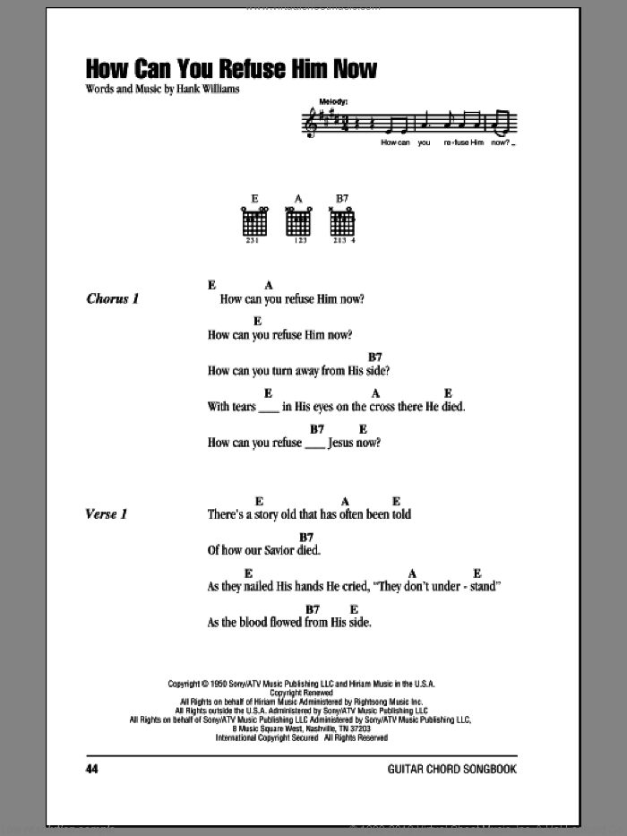How Can You Refuse Him Now sheet music for guitar (chords) by Hank Williams. Score Image Preview.