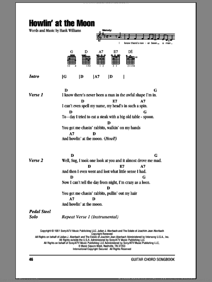 Howlin' At The Moon sheet music for guitar (chords) by Hank Williams, intermediate skill level