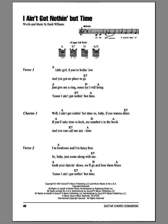 I Ain't Got Nothing But Time sheet music for guitar (chords) by Hank Williams, intermediate skill level