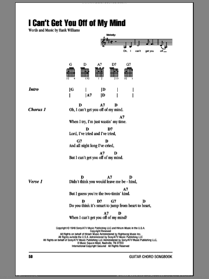 I Can't Get You Off Of My Mind sheet music for guitar (chords) by Hank Williams, intermediate. Score Image Preview.