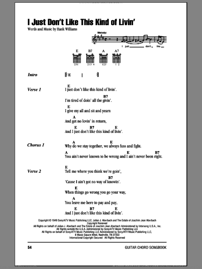 I Just Don't Like This Kind Of Livin' sheet music for guitar (chords) by Hank Williams. Score Image Preview.