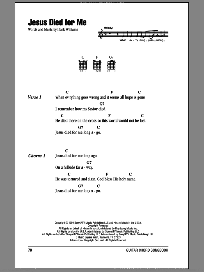 Jesus Died For Me sheet music for guitar (chords) by Hank Williams. Score Image Preview.