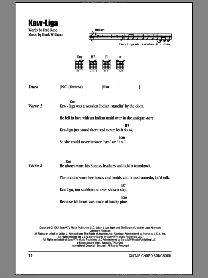 Kaw-Liga sheet music for guitar (chords) by Hank Williams and Fred Rose, intermediate