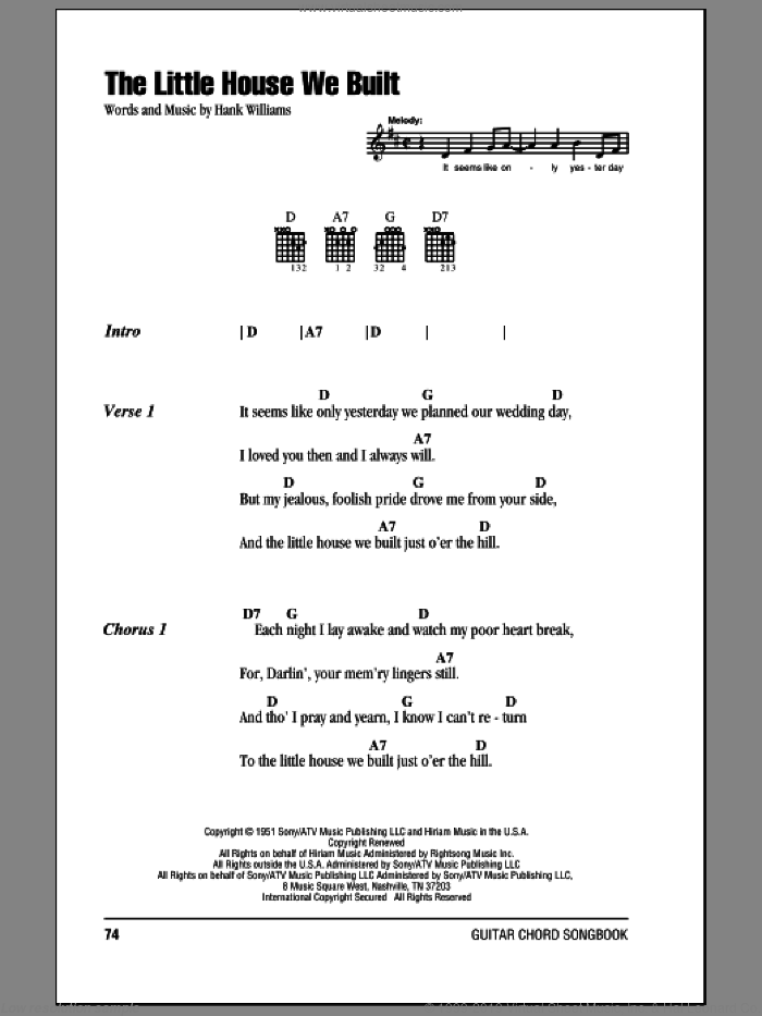 The Little House We Built sheet music for guitar (chords) by Hank Williams. Score Image Preview.
