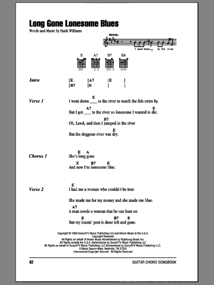 Long Gone Lonesome Blues sheet music for guitar (chords) by Hank Williams, intermediate skill level