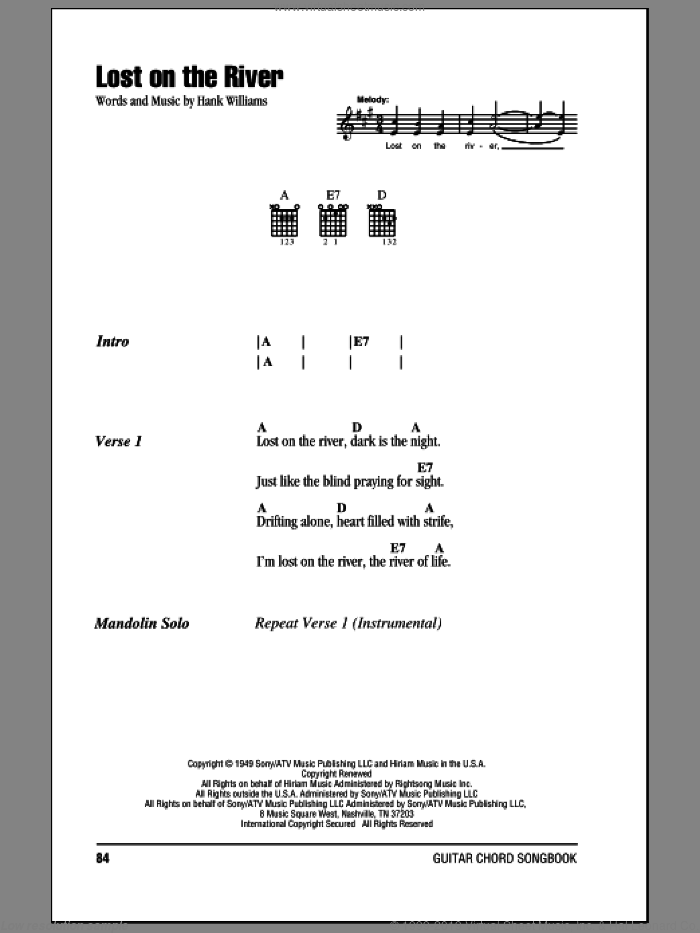 Lost On The River sheet music for guitar (chords) by Hank Williams, intermediate skill level