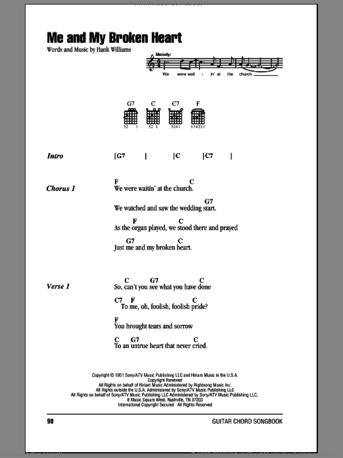 Williams - Me And My Broken Heart sheet music for guitar (chords)