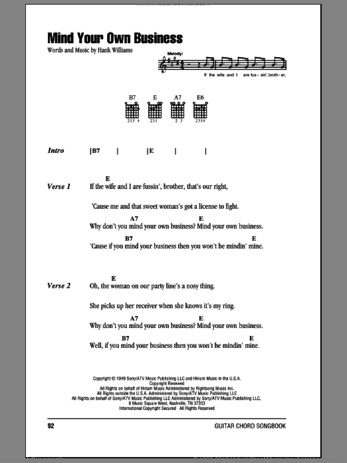 Mind Your Own Business sheet music for guitar (chords) by Hank Williams. Score Image Preview.