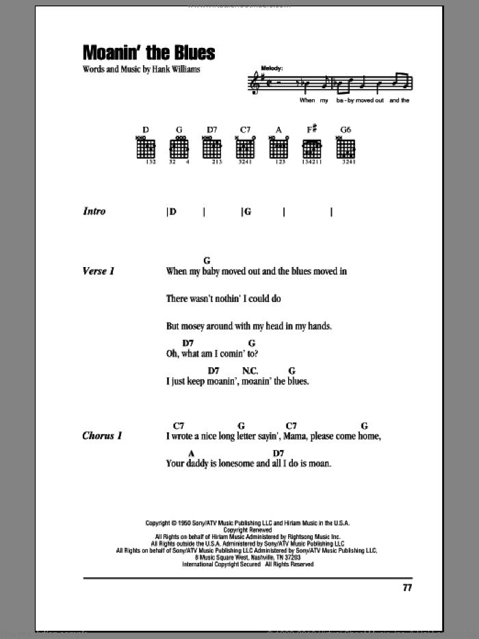 Moanin' The Blues sheet music for guitar (chords) by Hank Williams. Score Image Preview.