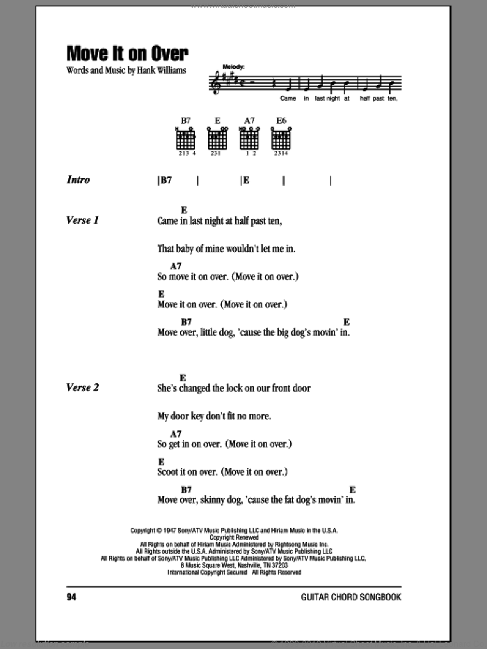 Move It On Over sheet music for guitar (chords) by Hank Williams, intermediate. Score Image Preview.